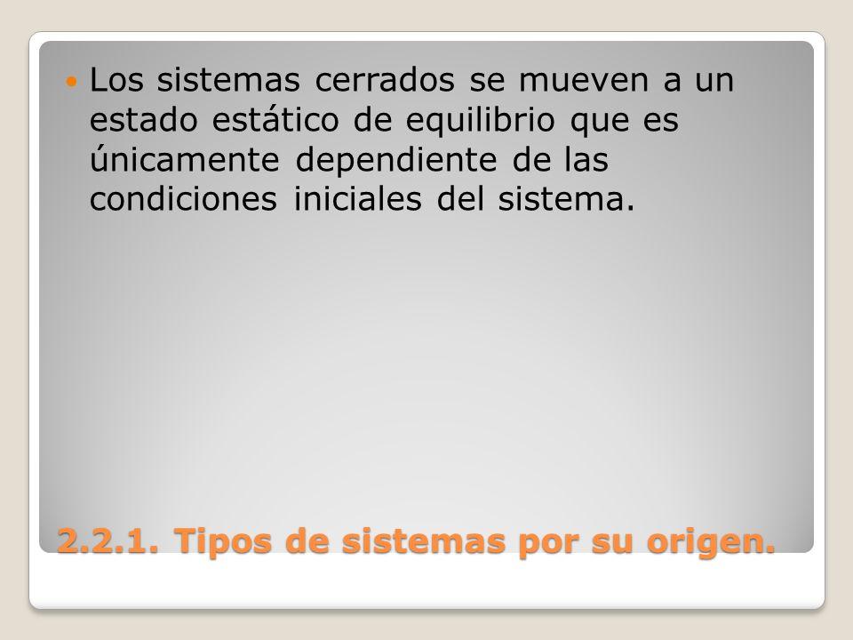 2.2.1. Tipos de sistemas por su origen. Los sistemas cerrados se mueven a un estado estático de equilibrio que es únicamente dependiente de las condic
