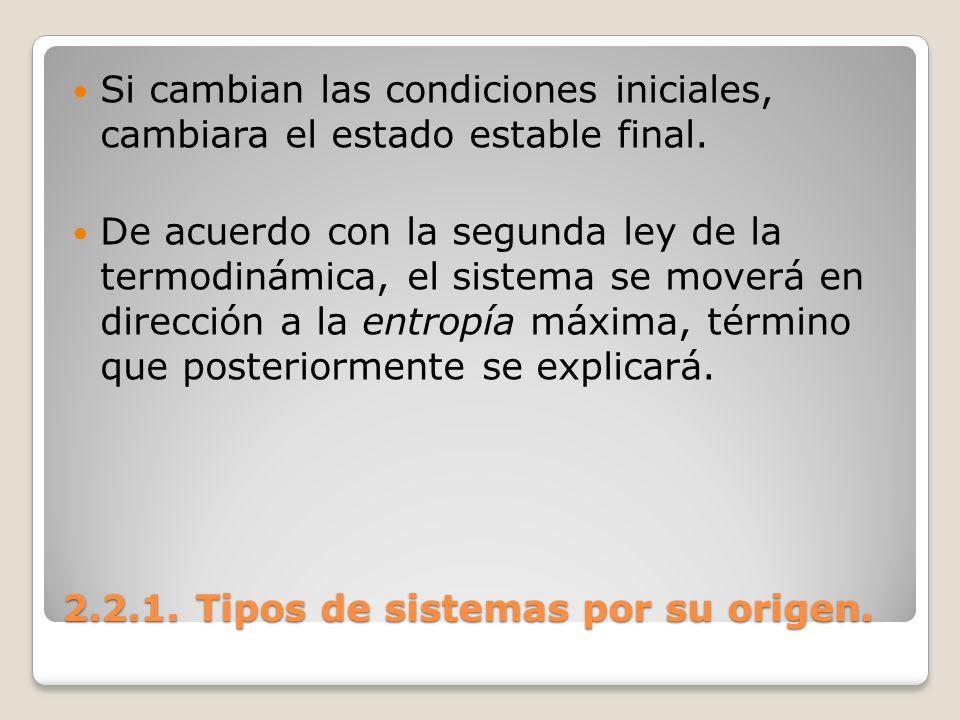 2.2.1. Tipos de sistemas por su origen. Si cambian las condiciones iniciales, cambiara el estado estable final. De acuerdo con la segunda ley de la te
