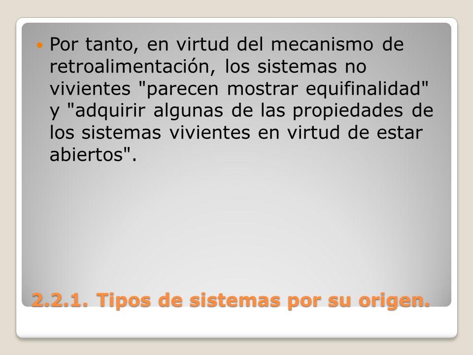 2.2.1. Tipos de sistemas por su origen. Por tanto, en virtud del mecanismo de retroalimentación, los sistemas no vivientes