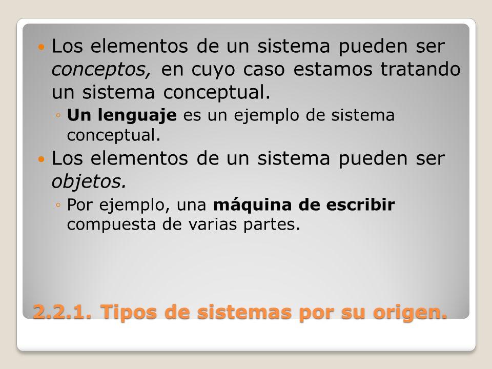 2.2.1. Tipos de sistemas por su origen. Los elementos de un sistema pueden ser conceptos, en cuyo caso estamos tratando un sistema conceptual. Un leng
