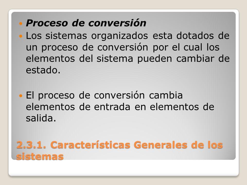 2.3.1. Características Generales de los sistemas Proceso de conversión Los sistemas organizados esta dotados de un proceso de conversión por el cual l