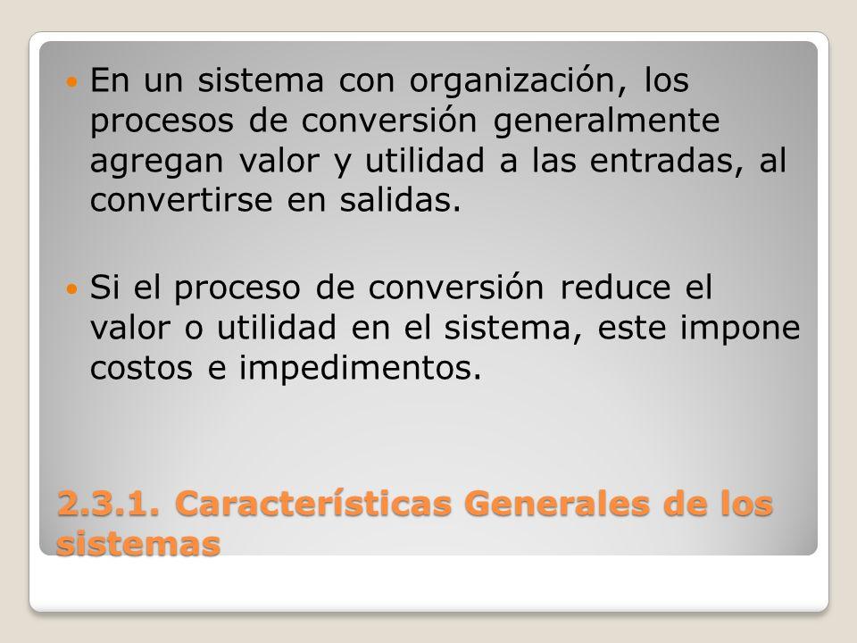 2.3.1. Características Generales de los sistemas En un sistema con organización, los procesos de conversión generalmente agregan valor y utilidad a la