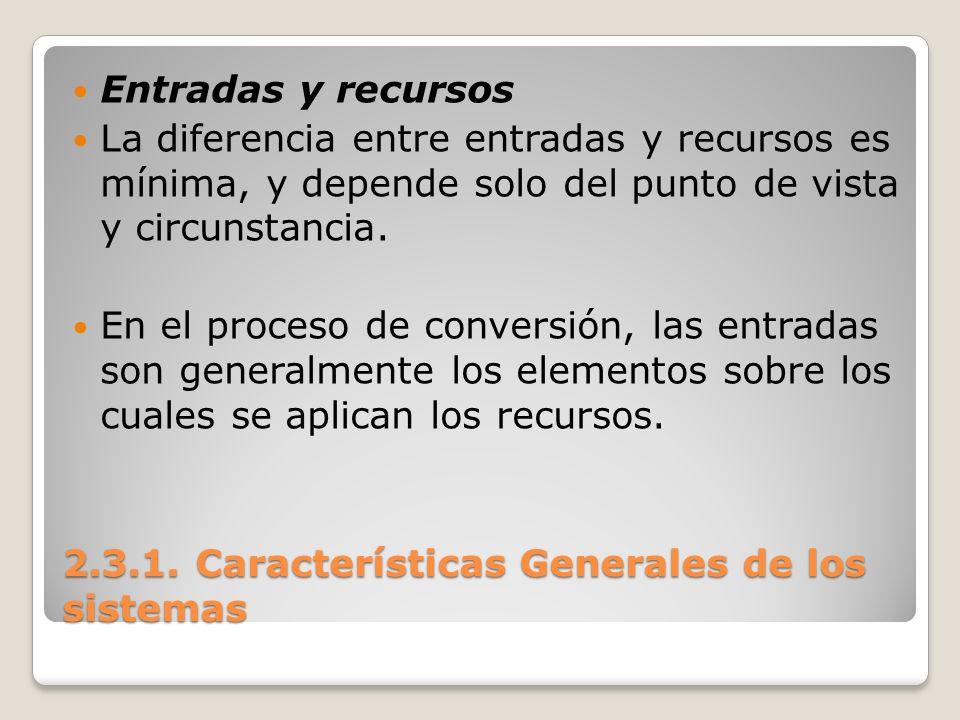 2.3.1. Características Generales de los sistemas Entradas y recursos La diferencia entre entradas y recursos es mínima, y depende solo del punto de vi