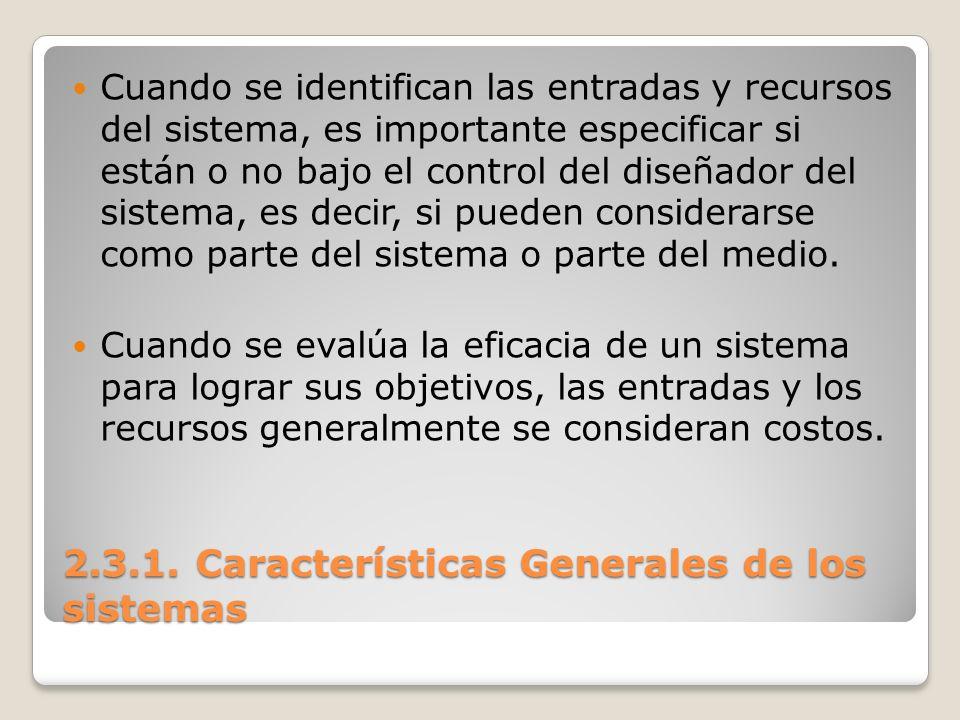 2.3.1. Características Generales de los sistemas Cuando se identifican las entradas y recursos del sistema, es importante especificar si están o no ba