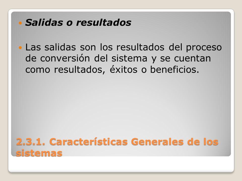 2.3.1. Características Generales de los sistemas Salidas o resultados Las salidas son los resultados del proceso de conversión del sistema y se cuenta