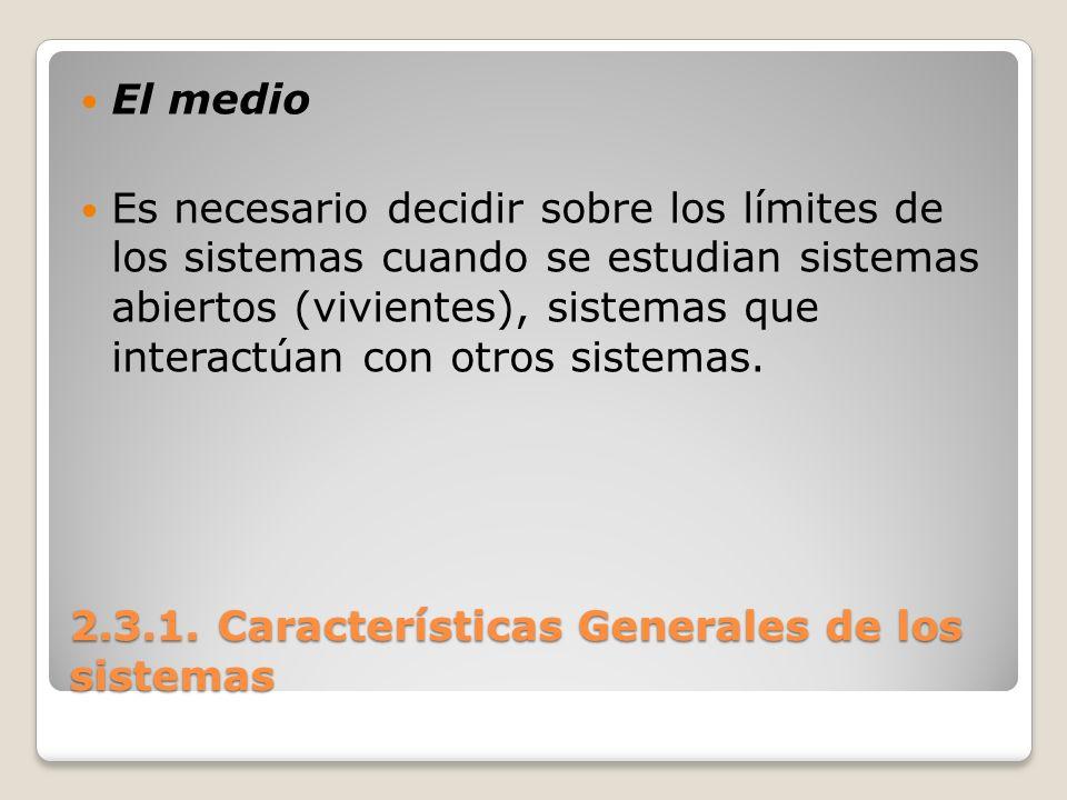 2.3.1. Características Generales de los sistemas El medio Es necesario decidir sobre los límites de los sistemas cuando se estudian sistemas abiertos
