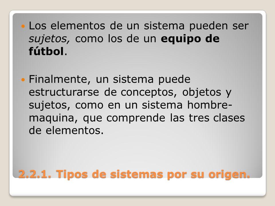 2.2.1. Tipos de sistemas por su origen. Los elementos de un sistema pueden ser sujetos, como los de un equipo de fútbol. Finalmente, un sistema puede