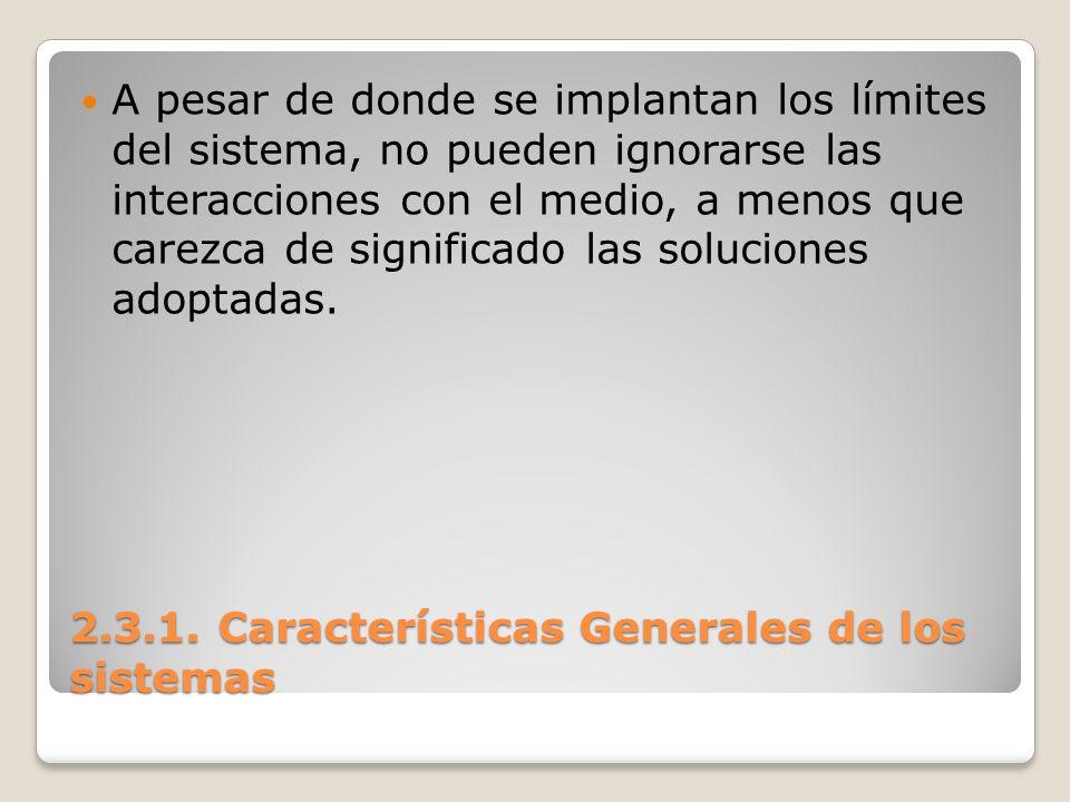 2.3.1. Características Generales de los sistemas A pesar de donde se implantan los límites del sistema, no pueden ignorarse las interacciones con el m