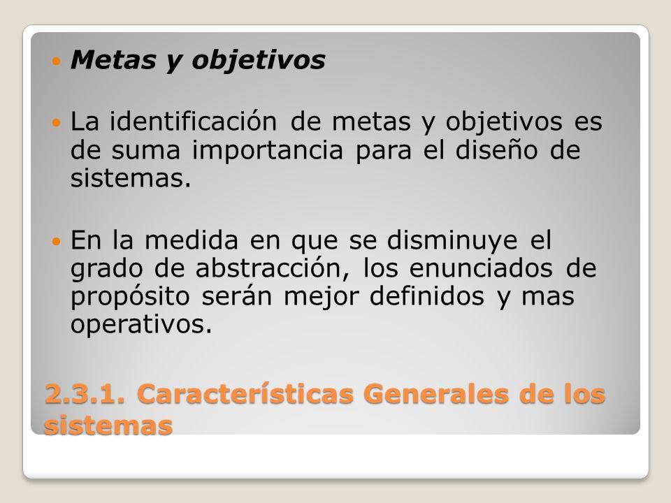 2.3.1. Características Generales de los sistemas Metas y objetivos La identificación de metas y objetivos es de suma importancia para el diseño de sis