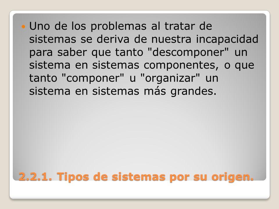 2.2.1. Tipos de sistemas por su origen. Uno de los problemas al tratar de sistemas se deriva de nuestra incapacidad para saber que tanto