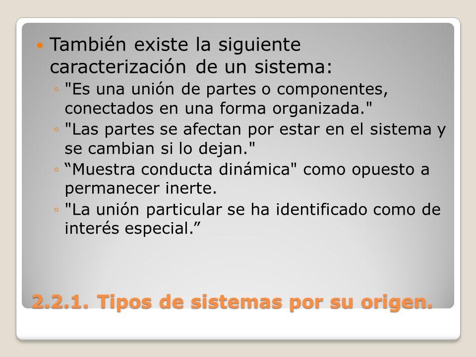 2.2.1. Tipos de sistemas por su origen. También existe la siguiente caracterización de un sistema: