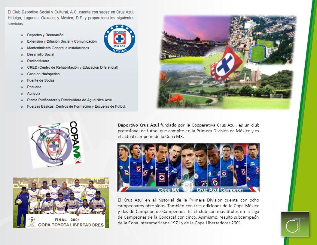 Deportivo Cruz Azul fundado por la Cooperativa Cruz Azul, es un club profesional de futbol que compite en la Primera División de México y es el actual