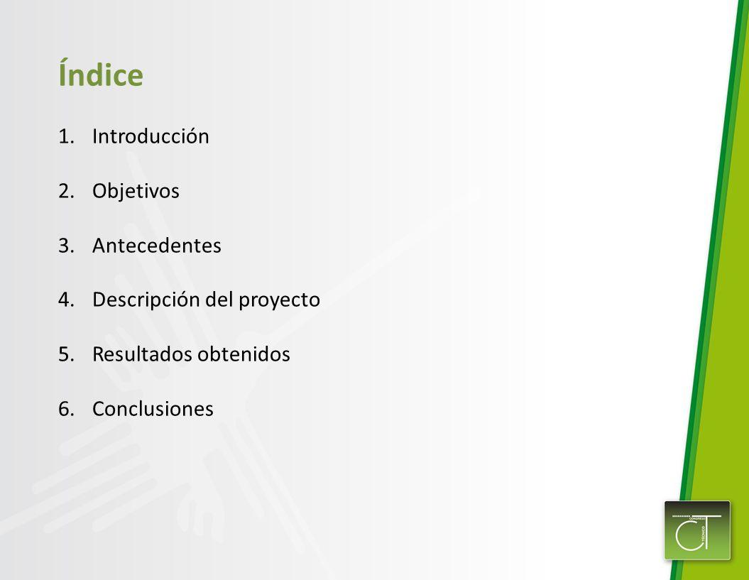 Índice 1.Introducción 2.Objetivos 3.Antecedentes 4.Descripción del proyecto 5.Resultados obtenidos 6.Conclusiones