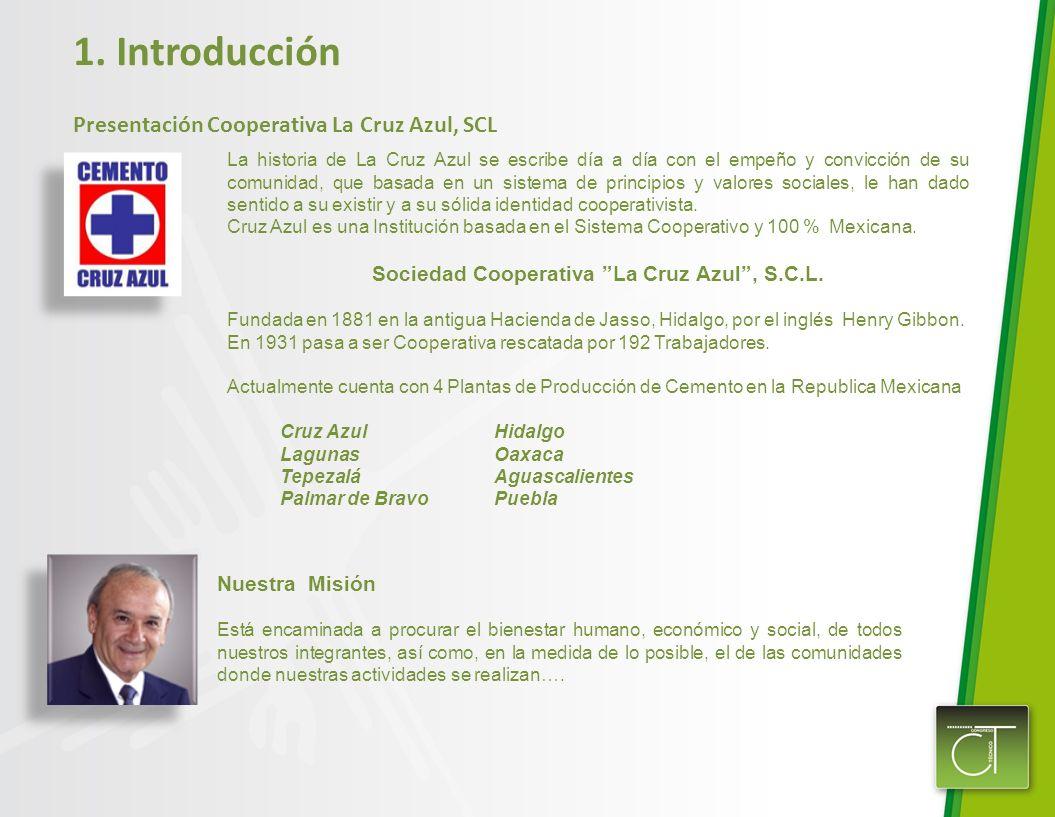 1. Introducción Presentación Cooperativa La Cruz Azul, SCL La historia de La Cruz Azul se escribe día a día con el empeño y convicción de su comunidad