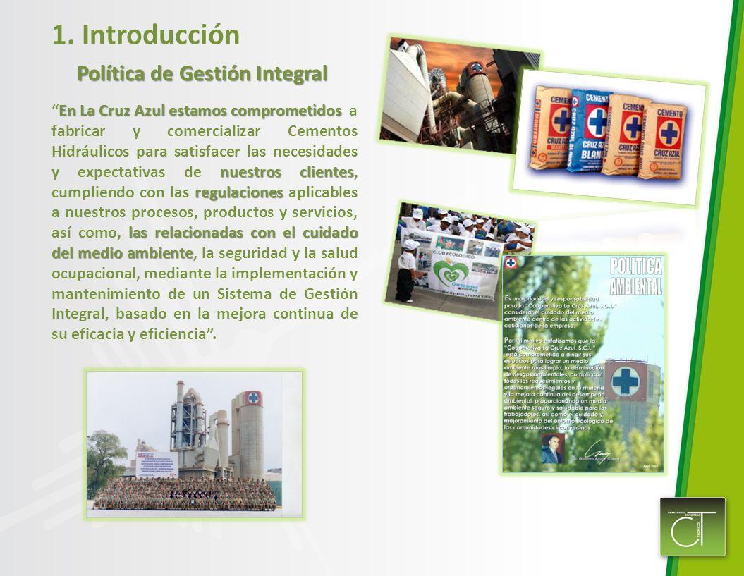 1. Introducción Política de Gestión Integral En La Cruz Azul estamos comprometidos nuestros clientes regulaciones las relacionadas con el cuidado del