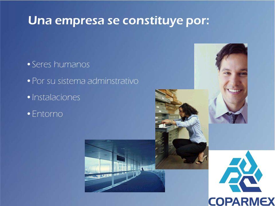 Una empresa se constituye por: Seres humanos Por su sistema adminstrativo Instalaciones Entorno