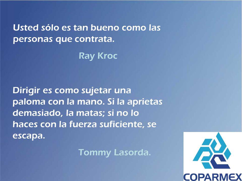 Usted sólo es tan bueno como las personas que contrata. Ray Kroc Dirigir es como sujetar una paloma con la mano. Si la aprietas demasiado, la matas; s