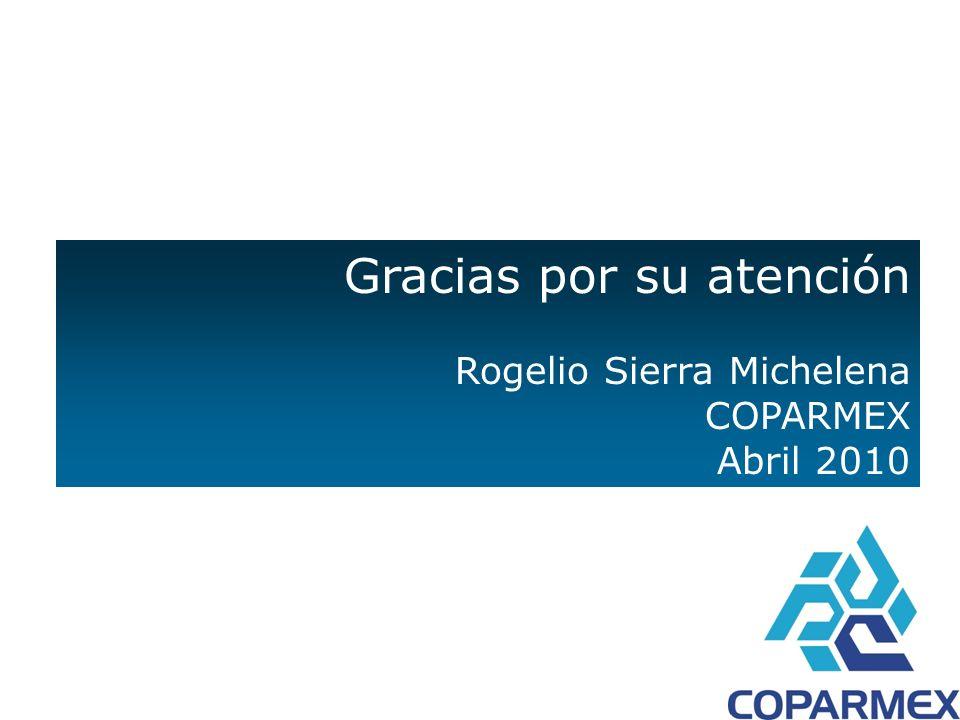 Gracias por su atención Rogelio Sierra Michelena COPARMEX Abril 2010