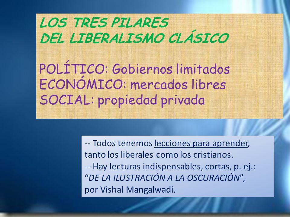 LOS TRES PILARES DEL LIBERALISMO CLÁSICO POLÍTICO: Gobiernos limitados ECONÓMICO: mercados libres SOCIAL: propiedad privada -- Todos tenemos lecciones