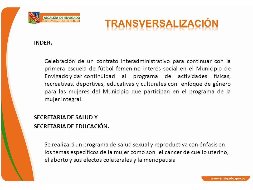 INDER. Celebración de un contrato interadministrativo para continuar con la primera escuela de fútbol femenino interés social en el Municipio de Envig