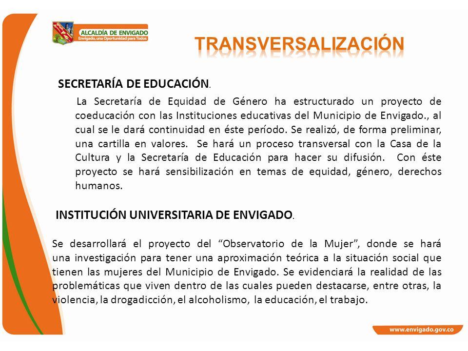 SECRETARÍA DE EDUCACIÓN. La Secretaría de Equidad de Género ha estructurado un proyecto de coeducación con las Instituciones educativas del Municipio