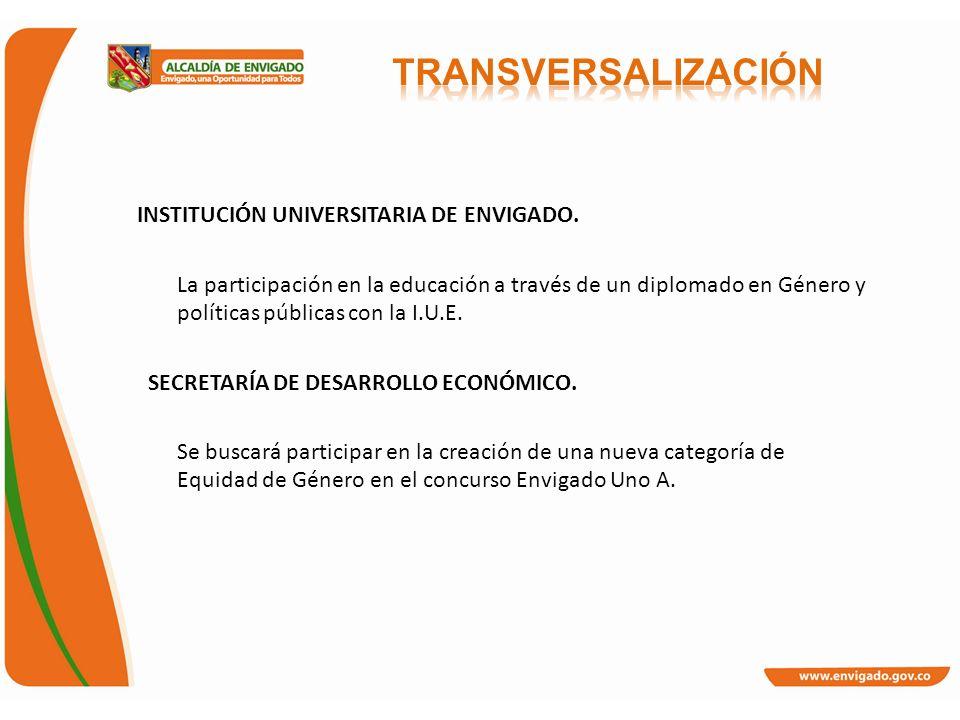INSTITUCIÓN UNIVERSITARIA DE ENVIGADO. La participación en la educación a través de un diplomado en Género y políticas públicas con la I.U.E. SECRETAR