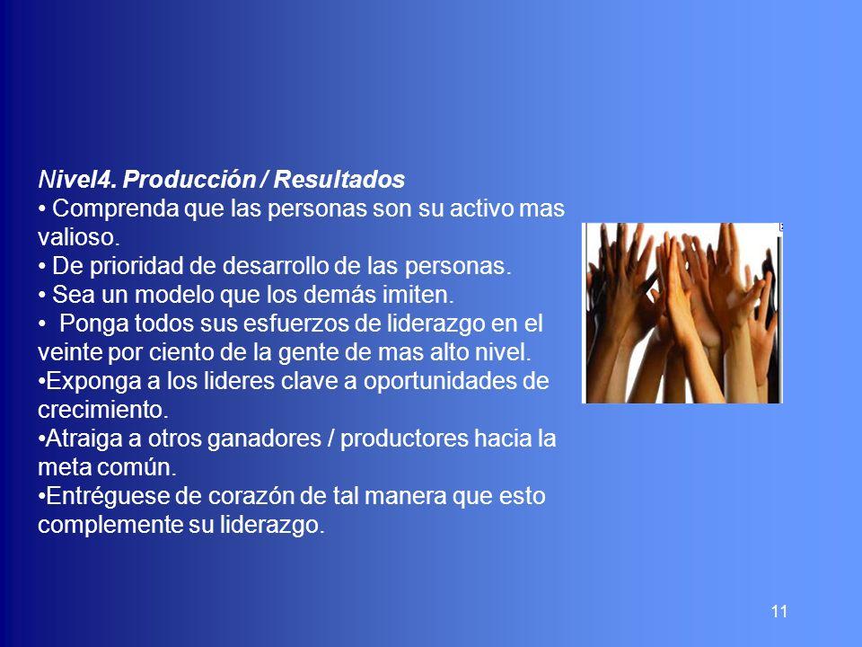 11 Nivel4. Producción / Resultados Comprenda que las personas son su activo mas valioso. De prioridad de desarrollo de las personas. Sea un modelo que