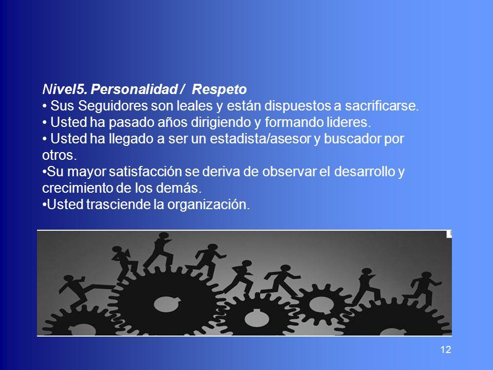 12 Nivel5. Personalidad / Respeto Sus Seguidores son leales y están dispuestos a sacrificarse. Usted ha pasado años dirigiendo y formando lideres. Ust