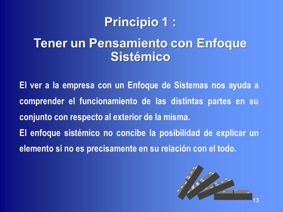 Principio 1 : Tener un Pensamiento con Enfoque Sistémico El ver a la empresa con un Enfoque de Sistemas nos ayuda a comprender el funcionamiento de la
