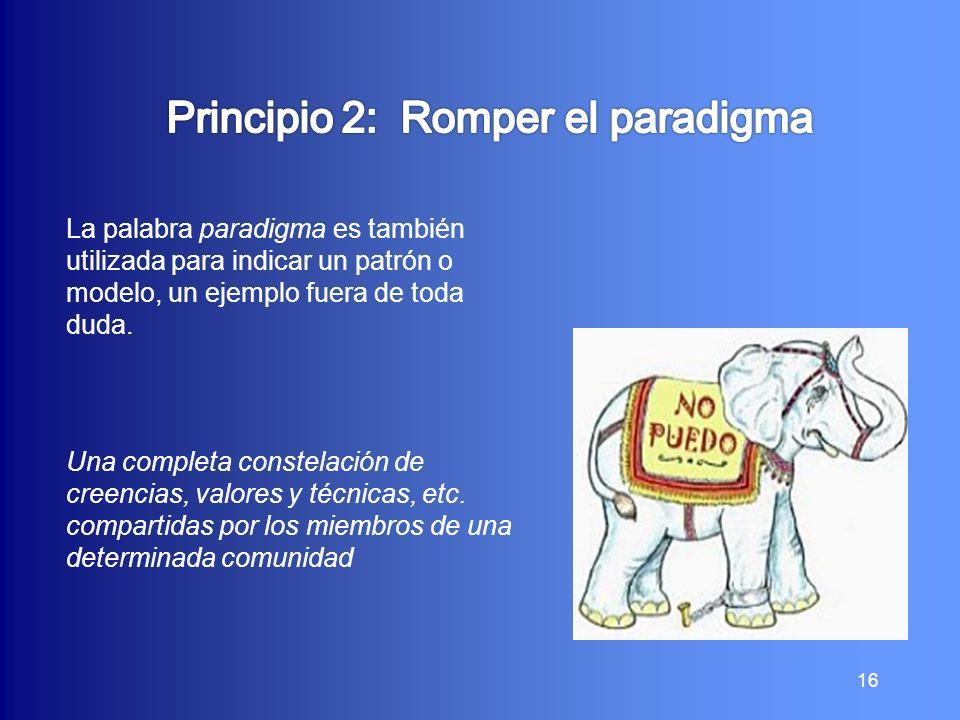 16 La palabra paradigma es también utilizada para indicar un patrón o modelo, un ejemplo fuera de toda duda. Una completa constelación de creencias, v