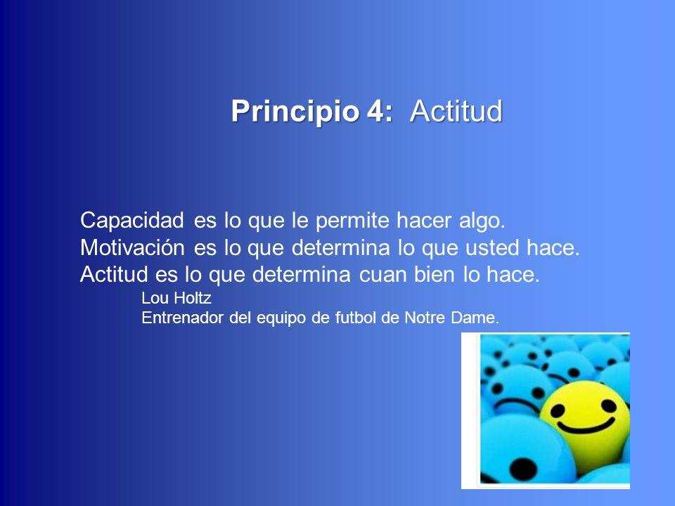 22 Principio 4: Actitud Principio 4: Actitud Capacidad es lo que le permite hacer algo. Motivación es lo que determina lo que usted hace. Actitud es l