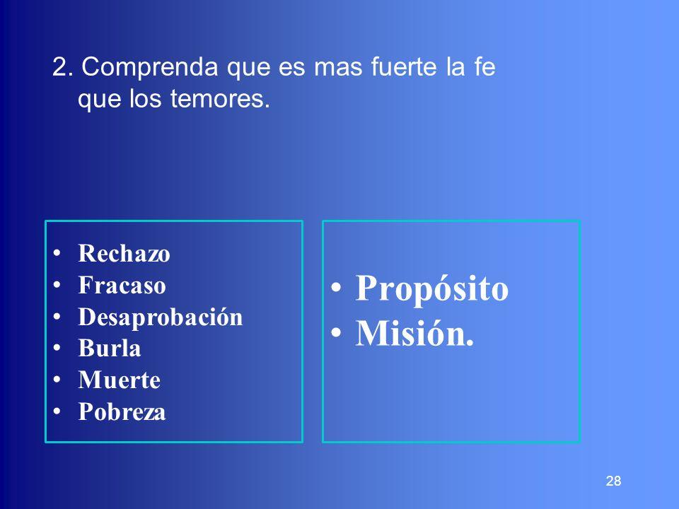 28 2. Comprenda que es mas fuerte la fe que los temores. Rechazo Fracaso Desaprobación Burla Muerte Pobreza Propósito Misión.