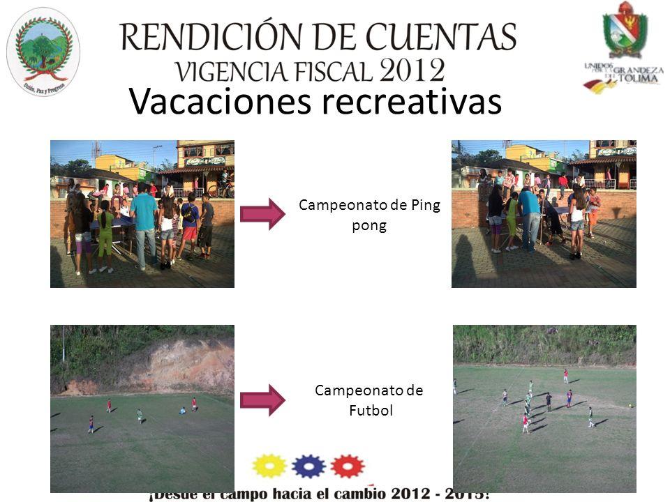 Vacaciones recreativas Campeonato de Ping pong Campeonato de Futbol