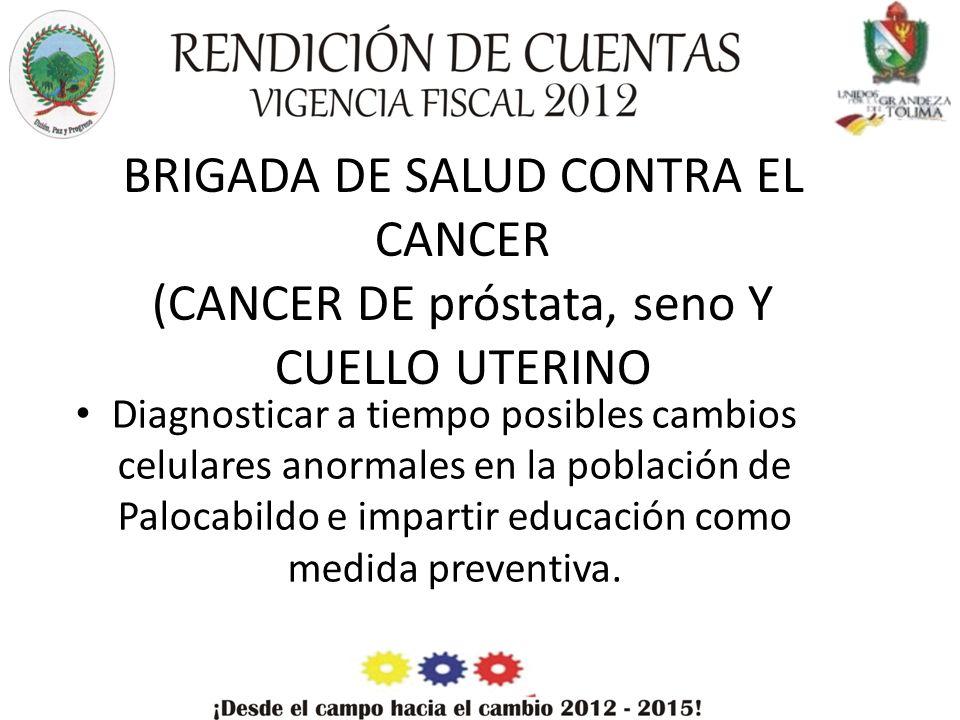 BRIGADA DE SALUD CONTRA EL CANCER (CANCER DE próstata, seno Y CUELLO UTERINO Diagnosticar a tiempo posibles cambios celulares anormales en la población de Palocabildo e impartir educación como medida preventiva.