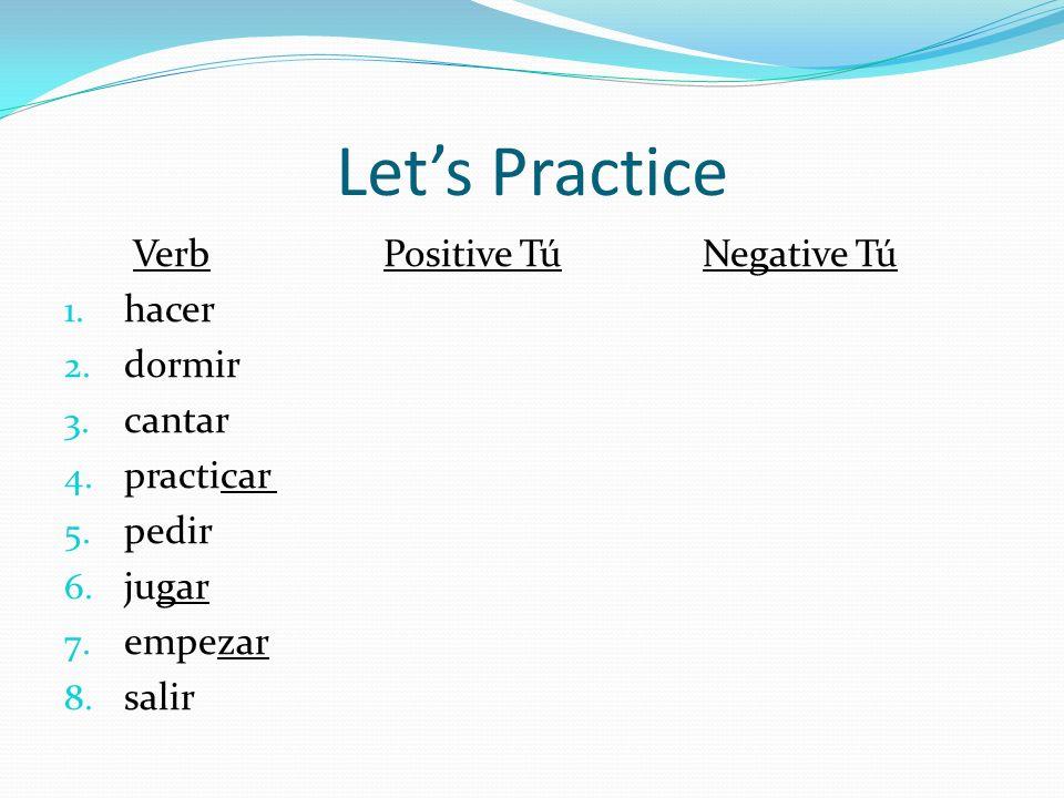 Lets Practice VerbPositive TúNegative Tú 1. hacer 2. dormir 3. cantar 4. practicar 5. pedir 6. jugar 7. empezar 8. salir