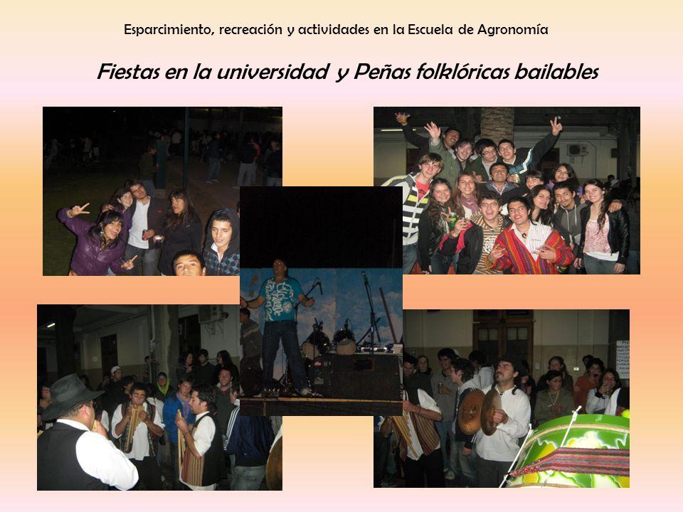 Esparcimiento, recreación y actividades en la Escuela de Agronomía Fiestas en la universidad y Peñas folklóricas bailables