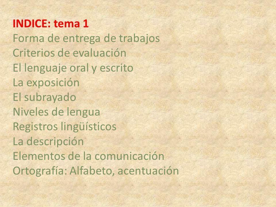 INDICE: tema 1 Forma de entrega de trabajos Criterios de evaluación El lenguaje oral y escrito La exposición El subrayado Niveles de lengua Registros