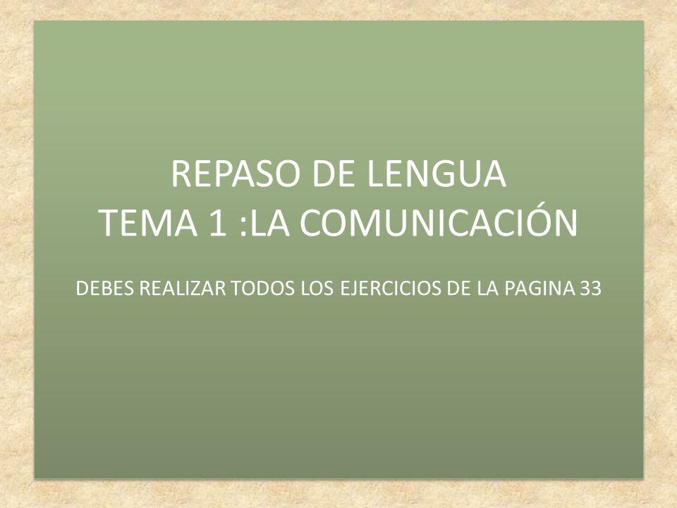 REPASO DE LENGUA TEMA 1 :LA COMUNICACIÓN DEBES REALIZAR TODOS LOS EJERCICIOS DE LA PAGINA 33