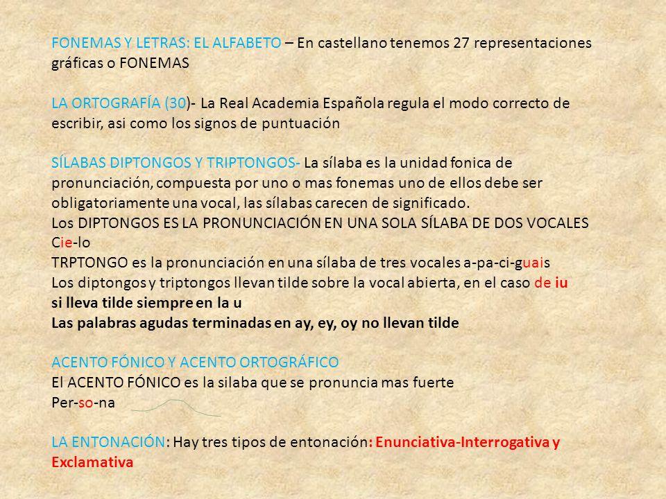 FONEMAS Y LETRAS: EL ALFABETO – En castellano tenemos 27 representaciones gráficas o FONEMAS LA ORTOGRAFÍA (30)- La Real Academia Española regula el m