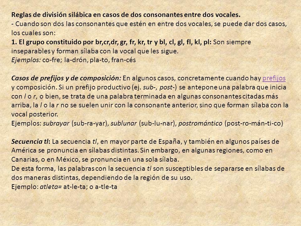 Reglas de división silábica en casos de dos consonantes entre dos vocales. - Cuando son dos las consonantes que estén en entre dos vocales, se puede d