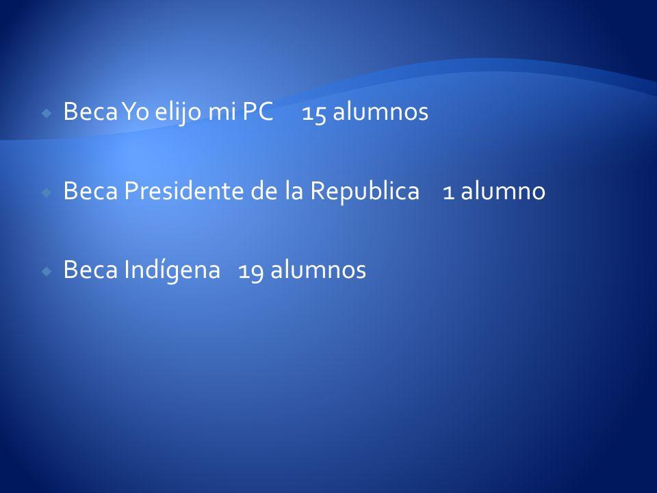 Beca Yo elijo mi PC 15 alumnos Beca Presidente de la Republica 1 alumno Beca Indígena 19 alumnos