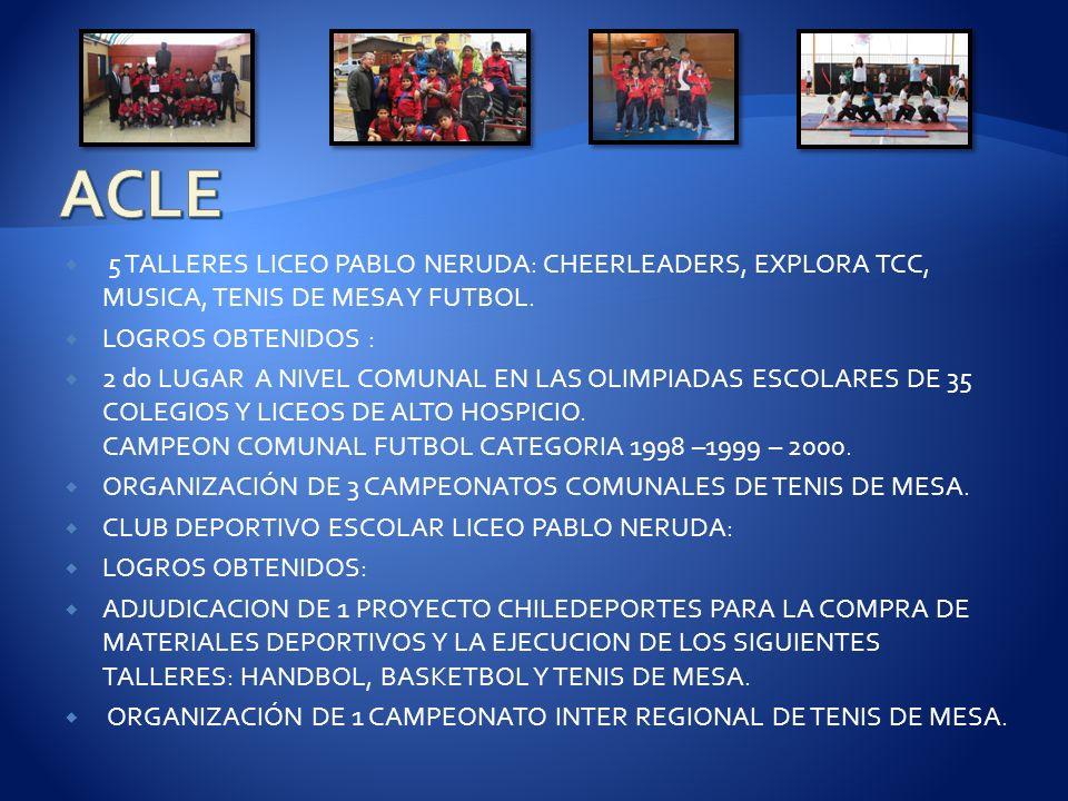 5 TALLERES LICEO PABLO NERUDA: CHEERLEADERS, EXPLORA TCC, MUSICA, TENIS DE MESA Y FUTBOL. LOGROS OBTENIDOS : 2 do LUGAR A NIVEL COMUNAL EN LAS OLIMPIA