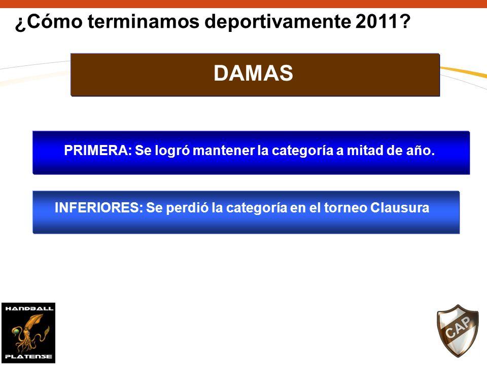 ¿Cómo terminamos deportivamente 2011.PRIMERA: Se logró mantener la categoría a mitad de año.