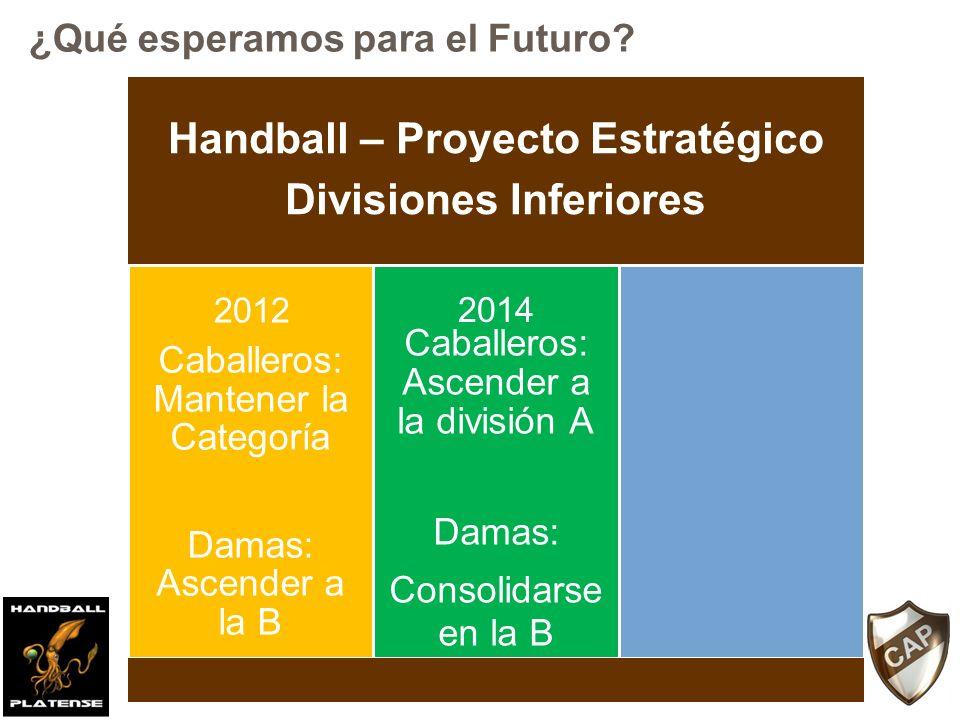 Handball – Proyecto Estratégico Divisiones Inferiores Caballeros: Mantener la Categoría Damas: Ascender a la B Caballeros: Ascender a la división A Da
