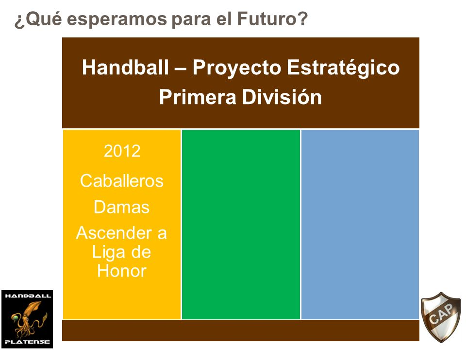 Handball – Proyecto Estratégico Primera División Caballeros Damas Ascender a Liga de Honor Caballeros Damas Mantener la categoría 2012 2014 ¿Qué esperamos para el Futuro?