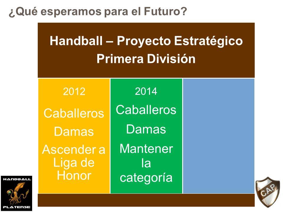 Handball – Proyecto Estratégico Primera División Caballeros Damas Ascender a Liga de Honor Caballeros Damas Mantener la categoría 2012 2014 ¿Qué esper