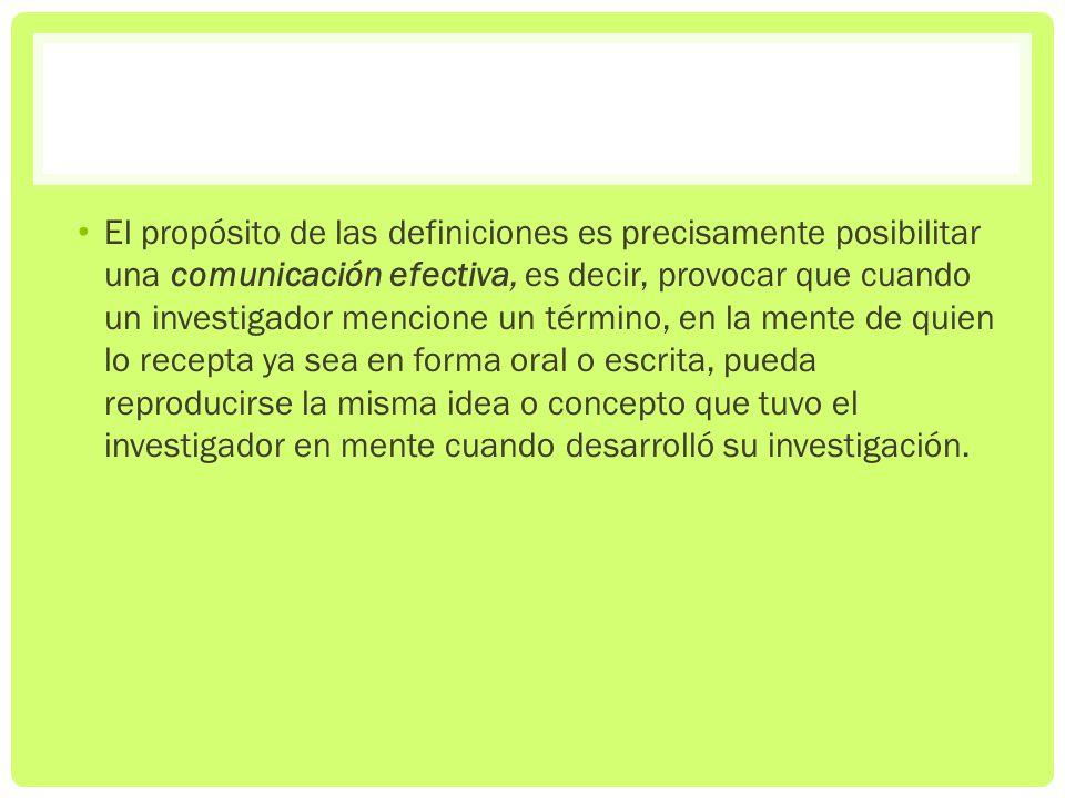 El propósito de las definiciones es precisamente posibilitar una comunicación efectiva, es decir, provocar que cuando un investigador mencione un térm