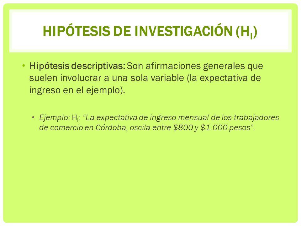 HIPÓTESIS DE INVESTIGACIÓN (H I ) Hipótesis descriptivas: Son afirmaciones generales que suelen involucrar a una sola variable (la expectativa de ingr