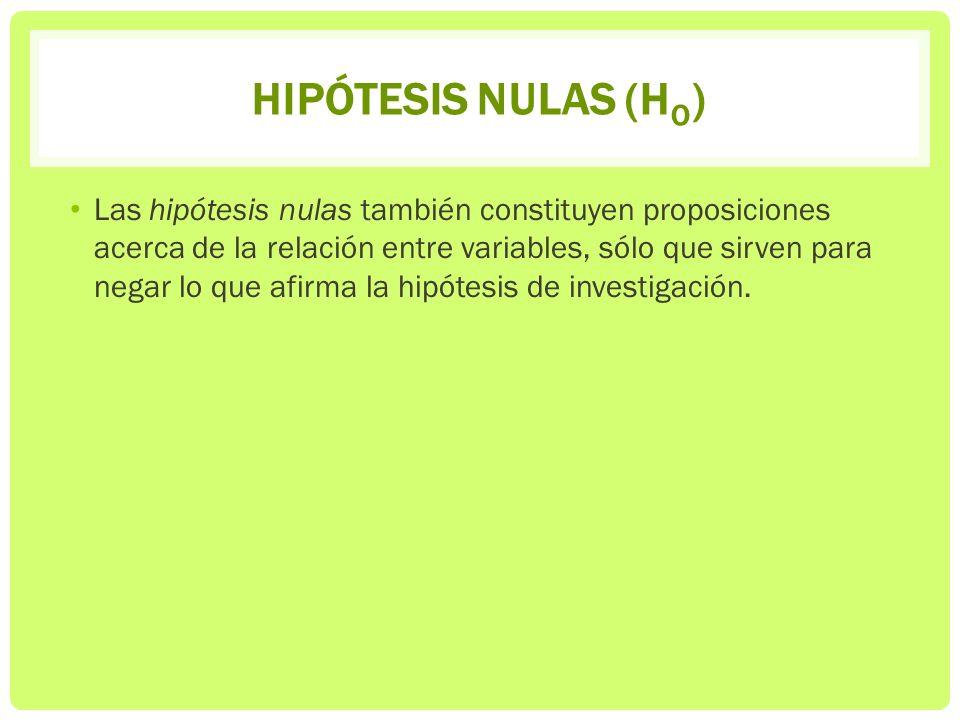 HIPÓTESIS NULAS (H O ) Las hipótesis nulas también constituyen proposiciones acerca de la relación entre variables, sólo que sirven para negar lo que