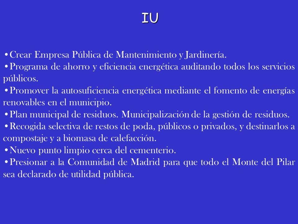 IU Crear Empresa Pública de Mantenimiento y Jardinería.